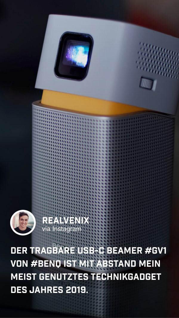 Für @realvenix steht fest: der tragbare Mini Beamer GV1 ist sein Technik-Highlight des Jahres