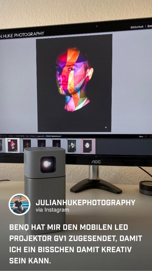 @julianhukephotography wird mit dem tragbaren GV1 von BenQ kreativ.