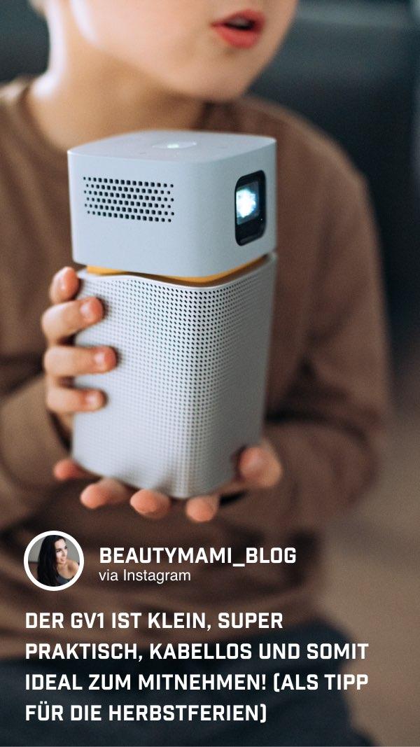 Der tragbare Mini Beamer GV1 lässt sich überall hin mitnehmen!