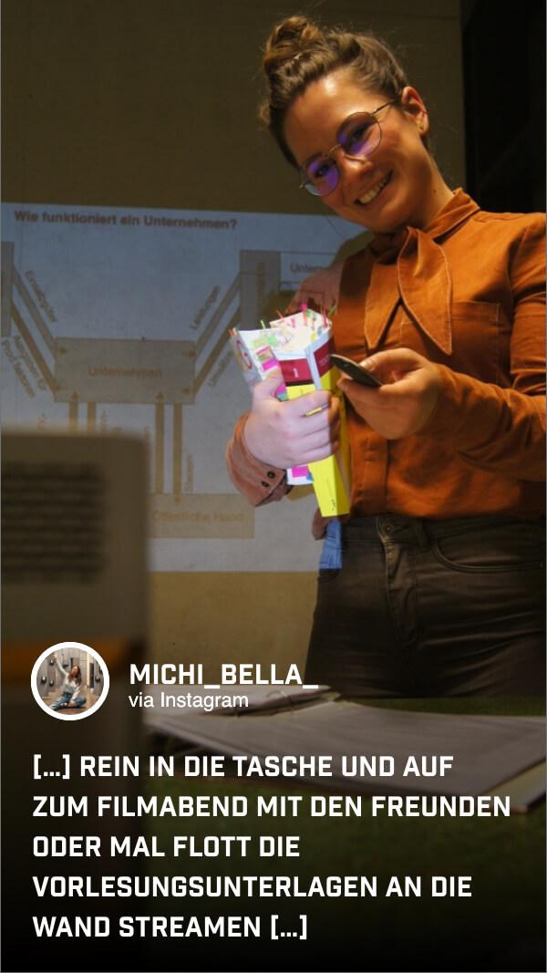 Mit dem tragbaren GV1 kann @michi_bella_ den Lernstoff beliebig oft wiederholen, überall und jederzeit.