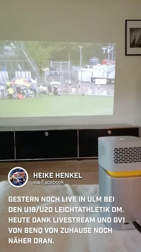 Leichtathletikerin Heike Henkel holt sich ihren Sport auf ihre Couch