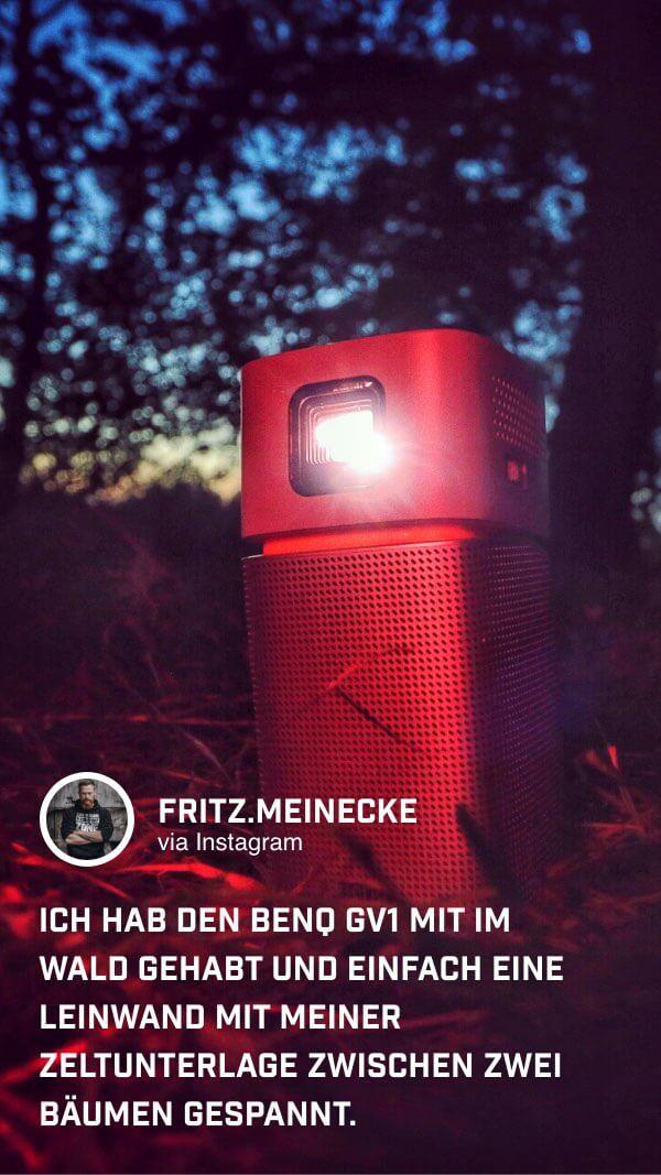 @fritz.meinecke nimmt den portablen Minibeamer GV1 von BenQ auf seiner Reise mit in die Natur