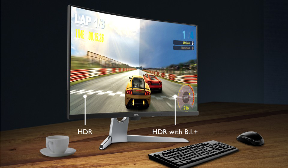 32 inch curved gaming monitor ex3203r hdr in sim racing setup