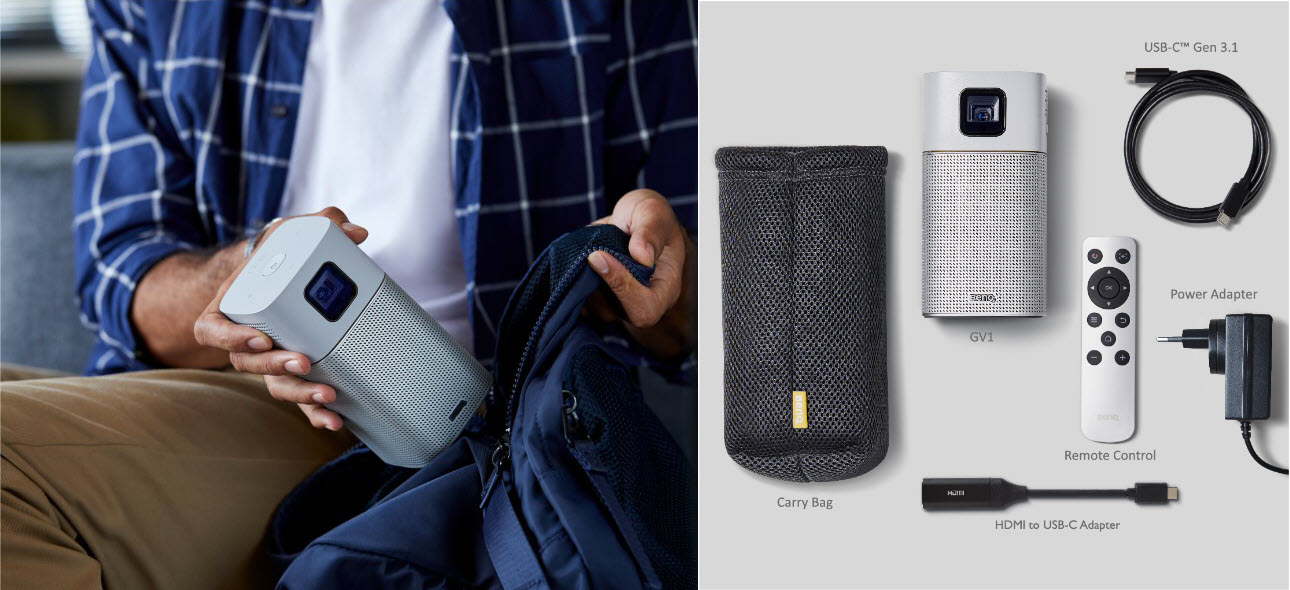 GV1 comes with an attractive custom fitted bag designed to simply carry the projector, USB-C cable, battery, remote control, power cord, and all accessories.