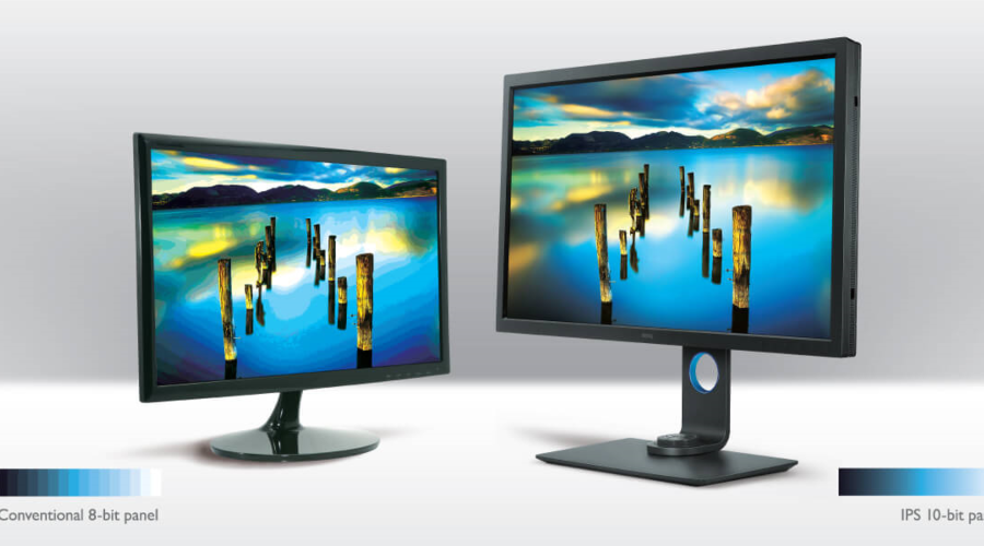 two monitors display in 10-bit and 8-bit color depth