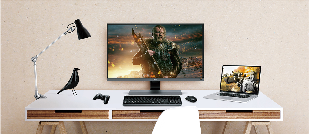 Scenario simulation of gaming monitor setup with laptop