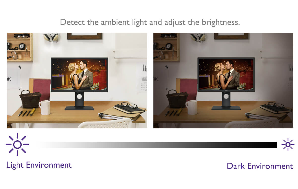 B.I. tech. detects the ambient light and adjust the brightness