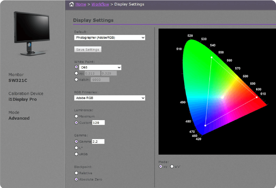 professional color calibration completes with customized RGB primaries settings to get more refined adjustments