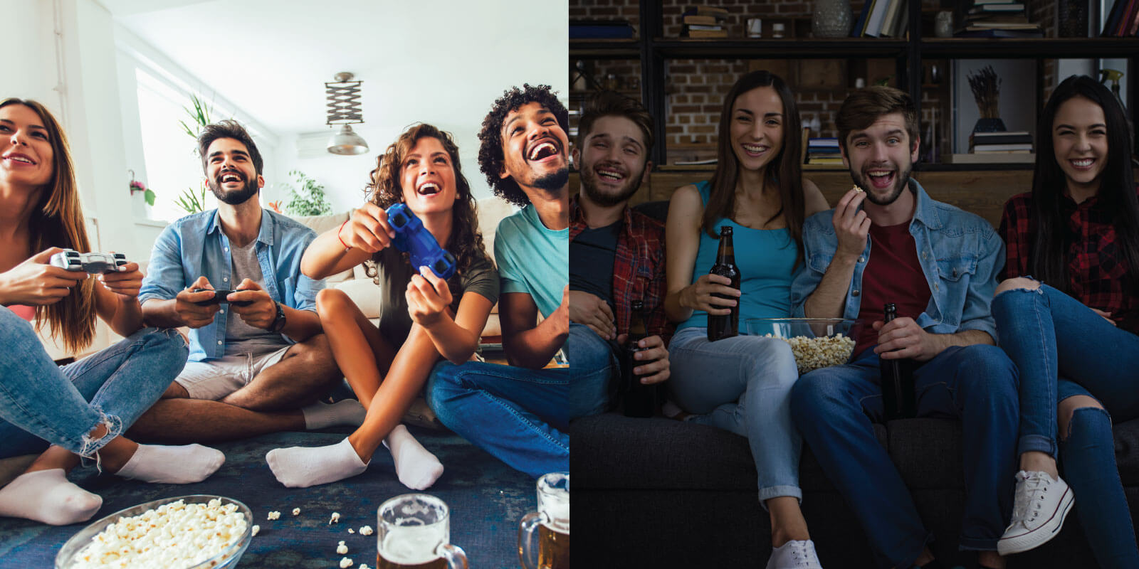 a comparison picture between day time party and movie night gathering