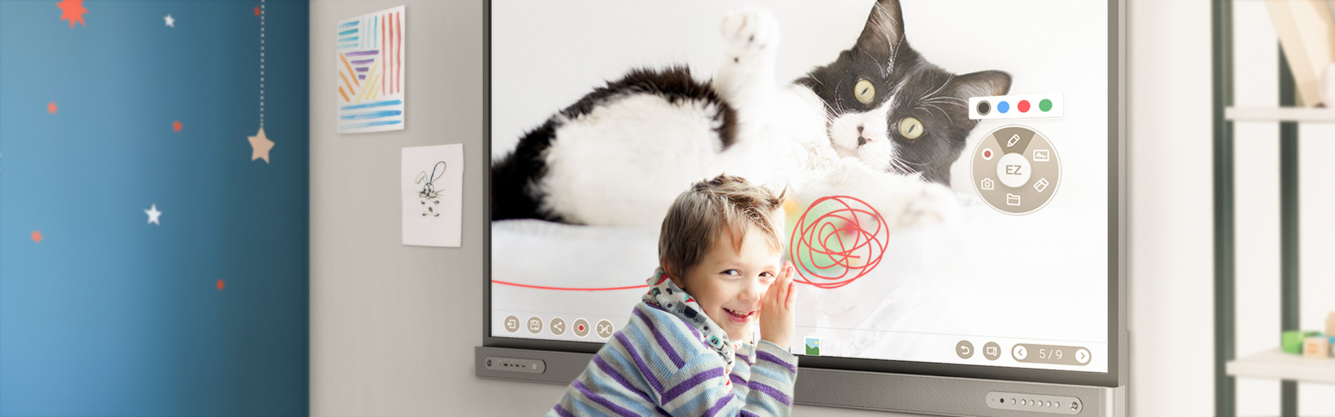 K-12 student using BenQ Interactive Flat Panel display in class